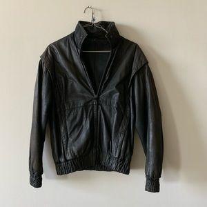 Other - Vintage soft black leather bomber jacket